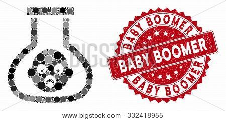 Mosaic Test Tube Baby And Corroded Stamp Seal With Baby Boomer Caption. Mosaic Vector Is Created Wit