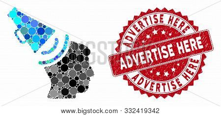 Collage Propaganda Megaphone And Grunge Stamp Seal With Advertise Here Text. Mosaic Vector Is Compos