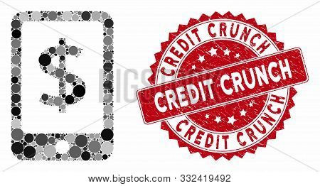 Collage Mobile Payment And Rubber Stamp Seal With Credit Crunch Caption. Mosaic Vector Is Formed Wit