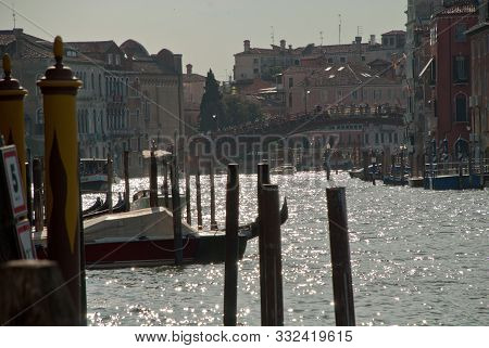 Venice, Italy, Europe: View Of Accademia Bridge And Grand Canal, Seen From Punta Della Dogana