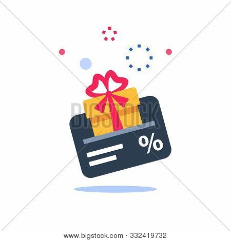 Gift Card, Loyalty Program, Earn Points, Redeem Present Box, More Discount, Perks Concept, Vector Fl