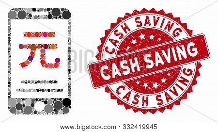 Collage Renminbi Yuan Mobile Payment And Distressed Stamp Seal With Cash Saving Caption. Mosaic Vect
