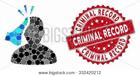 Mosaic Kickboxer And Corroded Stamp Seal With Criminal Record Text. Mosaic Vector Is Designed With K
