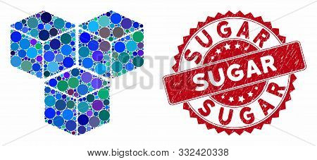 Mosaic Sugar Cubes And Corroded Stamp Watermark With Sugar Text. Mosaic Vector Is Created With Sugar