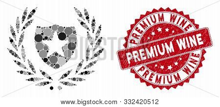 Mosaic Glory Shield And Grunge Stamp Watermark With Premium Wine Phrase. Mosaic Vector Is Formed Wit