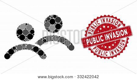 Mosaic Men And Grunge Stamp Seal With Public Invasion Text. Mosaic Vector Is Designed With Men Icon
