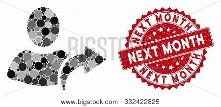 Mosaic Redo And Rubber Stamp Seal With Next Month Text. Mosaic Vector Is Formed With Redo Icon And W