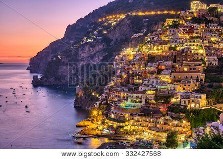 The Famous Village Of Positano On The Italian Amalfi Coast After Sunset