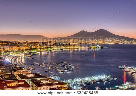The Gulf Of Naples With Mount Vesuvius Before Sunrise