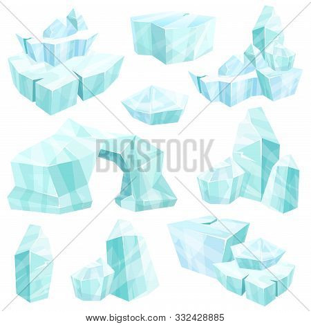 Realistic Set Of Ice Crystals, Broken Icebergs, Cold Frozen Blocks Of Ice, Winter Landscape For Game