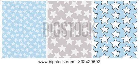 Cute Stars Seammless Vector Patterns. Irregular Hand Drawn Simple Starry Design. White Simple Stars
