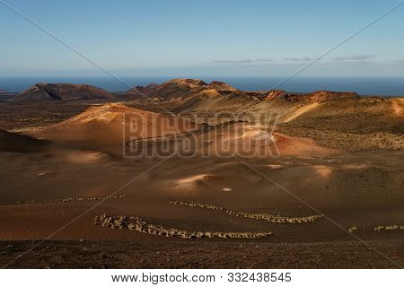 High Angle View Of Colorful Volcanic Landscape At Timanfaya National Park On Lantarote, Canary Islan