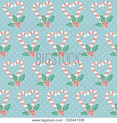 Christmas Pattern. Seamless Vector Illustration With Candy Canes And Mistletoe