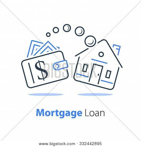 Mortgage Loan Refinance, Low Interest Rate, Buy House, Wallet With Cash, Real Estate Investment Conc