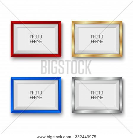 Realistic Gold, Silver, Red And Blue Vector Picture Frames Isolated On White Background With Blank S