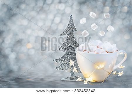 Christmas Background With Gingerbread Cookies, Hot Cocoa Or Chocolate Drink With Marshmallow, Christ