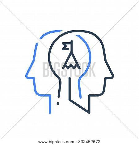 Human Head Profile And Mountain Summit, Motivational Psychology, Goal Achievement, Growth Mindset, S