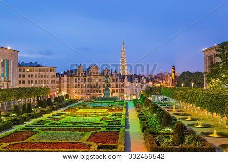 Monts des Arts in Brussels Belgium - cityscape background