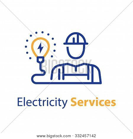 Electrician And Light Bulb, Electricity Services, Professional Occupation, Maintenance Engineer, Vec