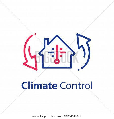 House Climate Control System, Change Temperature, Home Air Conditioning, Cooling Or Heating, Vector