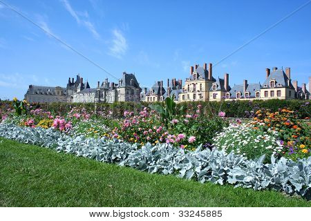 Palace Fontainebleau with flowers, France