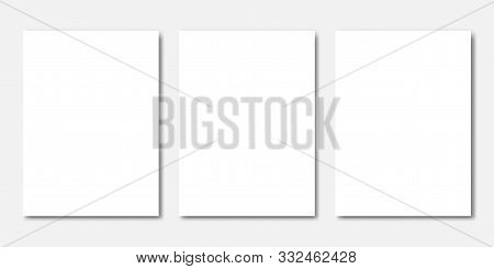 Vector Mock Up Of Book Or Magazine White Blank Cover Isolated. Closed Vertical Magazine, Brochure, B