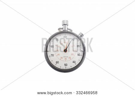 Old / Used Stop Watch Isolated On White Background With Clipping Path, Analogue Metal Stopwatch