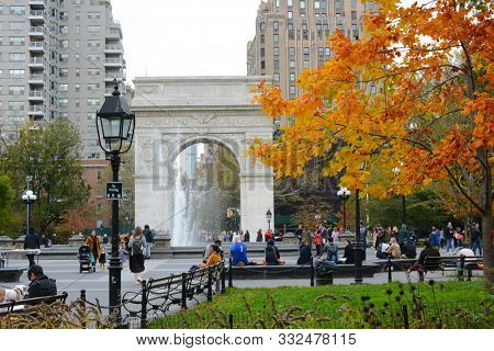 NEW YORK, NY - 05 NOV 2019: Washington Square Park, a 9.75-acre public park in the Greenwich Village neighborhood of Lower Manhattan.