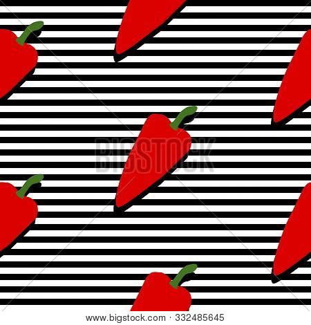 Seamless Background With Stripes And Red Pappers With Dark Shadow. Vector Illustration Design For Te