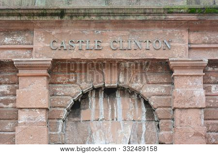 NEW YORK, NY - 05 NOV 2019: Castle Clinton National Monument is a circular sandstone fort located in Battery Park, in Manhattan.