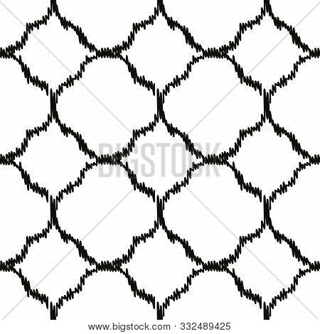 A Seamless Vector Geometric Ikat Pattern With Black Quatrefoils On A White Background. Unisex Classi