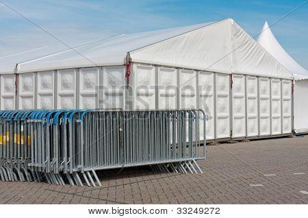 Crush Barriers Near A Big Marquee