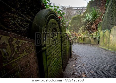 Liverpool, England, December 27, 2018: Part Of The Path Of Gravestones That Shaped The Entrance To T