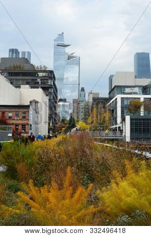NEW YORK, NY - 05 NOV 2019: High Line garden and city skyline. High Line is an elevated linear park, greenway and rail trail created on a former New York Central Railroad spur.