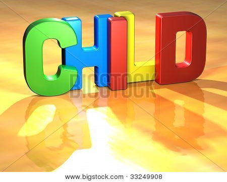 Word Child On Yellow Background