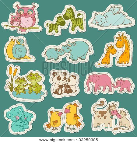 Baby and Mommy Animal Set on paper tags - for design and scrapbook - in vector
