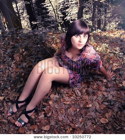 Girl posing in the forest