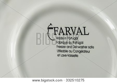 Brisbane - November 6, 2019: On The Bottom Of A Fine Porcelain Bowl With A Made In Portugal Identify