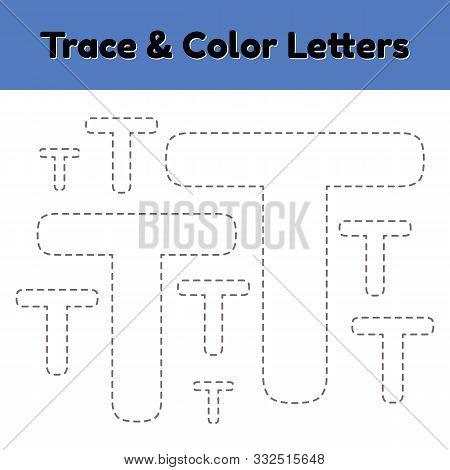 Trace Line Letter For Kindergarten And Preshool Kids. Write And Color T. Vector Illustration.