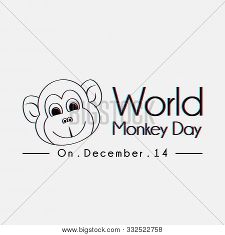 World Monkey Day Typography With Monkey Face Line Art Vector Cartoon