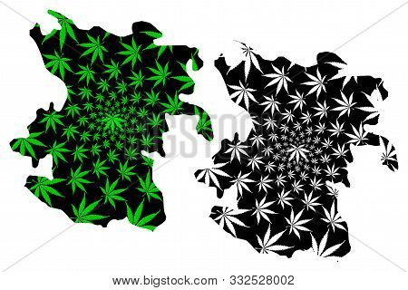 Hamadan Province (provinces Of Iran, Islamic Republic Of Iran, Persia) Map Is Designed Cannabis Leaf