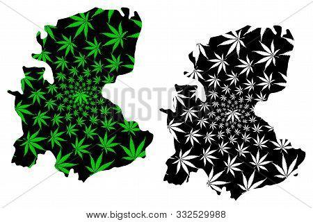 Markazi Province (provinces Of Iran, Islamic Republic Of Iran, Persia) Map Is Designed Cannabis Leaf
