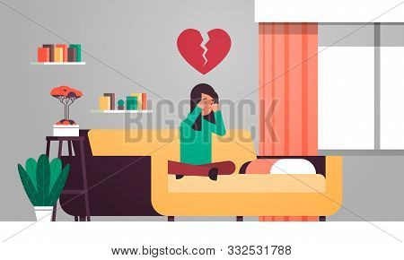 Heartbroken Woman In Depression Sitting On Couch And Crying Life Crisis Break Up Divorce Betrayal Co