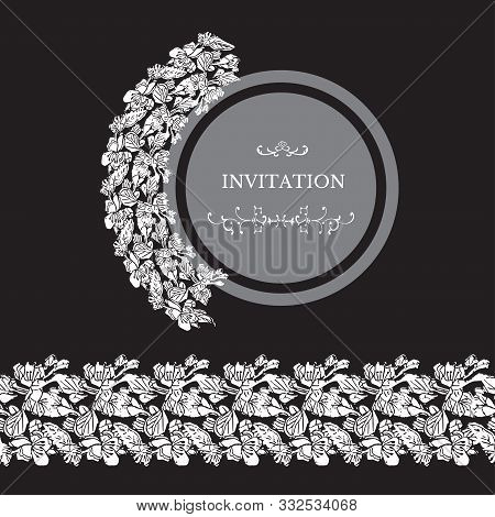 Monochrome Templates And Endless Brushe  For Invitation Or Greeting Card With Whitete Blossoming Bra