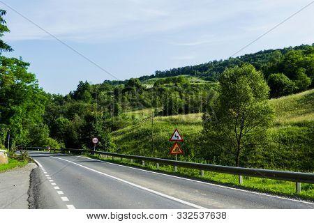 Landscape Of The Road Over The Hills In Prislop County, Bistrita-nasaud, Romania.