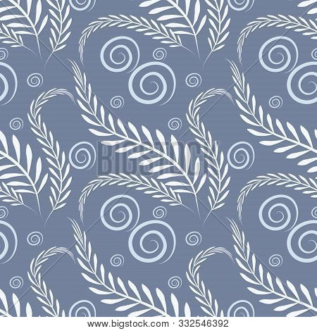 Floral Pattern On A Blue Background - Algae And Bubbles.
