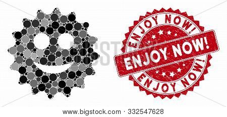 Mosaic Glad Sticker And Grunge Stamp Seal With Enjoy Now Exclamation Caption. Mosaic Vector Is Creat
