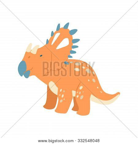 Flat Cartoon Style Cute Dinosaur. Vector Illustration For Kids Fashion, Card Or Poster Best For Chil
