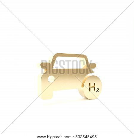Gold Hydrogen Car Icon Isolated On White Background. H2 Station Sign. Hydrogen Fuel Cell Car Eco Env