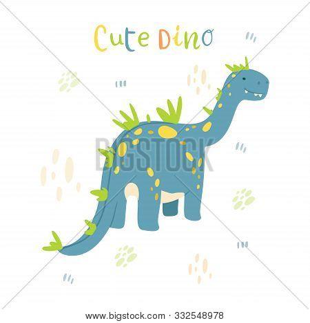 Flat Cartoon Style Cute Blue Dinosaur. Vector Illustration For Card Or Poster, Children Room Decorat